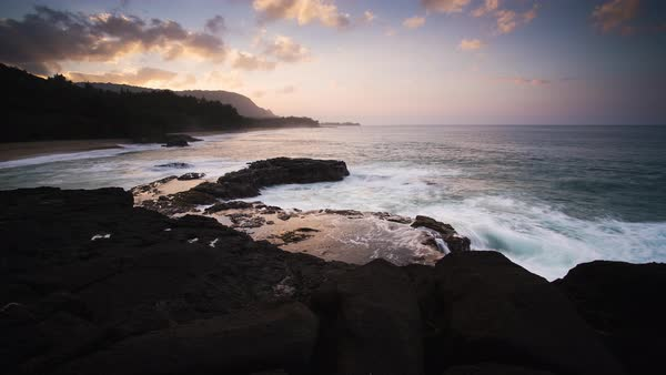 Kauai coastline, motion controlled sunset timelapse. Rights-managed stock video