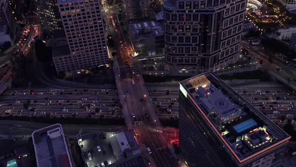 Downtown Los Angeles aerial traffic and freeway. Rights-managed stock video