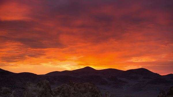 Timelapse static shot of Trona Pinnacles desert beautiful sunset. Rights-managed stock video