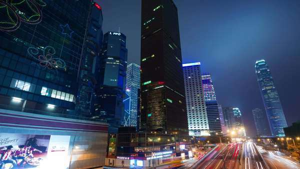Evening light traffic road timelapse from Hong Kong city Royalty-free stock video