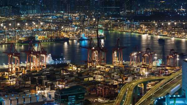 Night light working port timelapse from Hong Kong city Royalty-free stock video