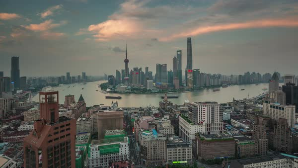 Sunset shanghai cityscape bay roof top panorama 4k time lapse china Royalty-free stock video