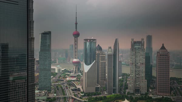 Shanghai downtown buildings roof top panorama 4k time lapse china Royalty-free stock video