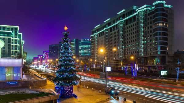 Moscow winter night illumination new arbat panorama timelapse, Russia Royalty-free stock video