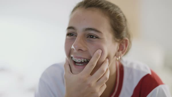 Medium shot of a laughing teenager Royalty-free stock video