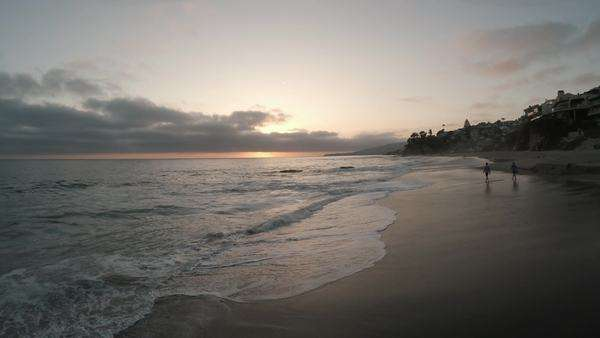 Wide shot of the Laguna Beach at sunset in California, USA Royalty-free stock video