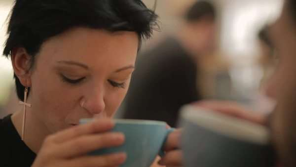 Medium close-up of couple on a date in a cafe Royalty-free stock video