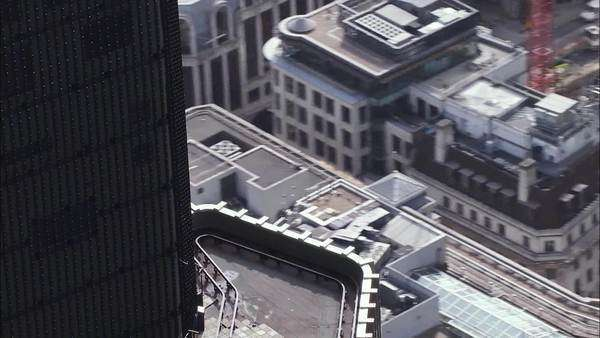 Aerial view close on the roof tops of building in the city of London Royalty-free stock video