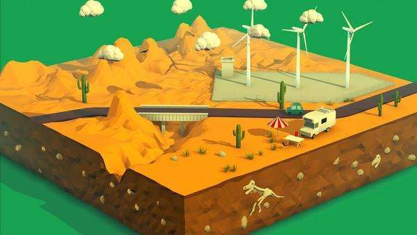 Vehicle travelling over bridge in desert landscape with wind turbines at background. Royalty-free stock video