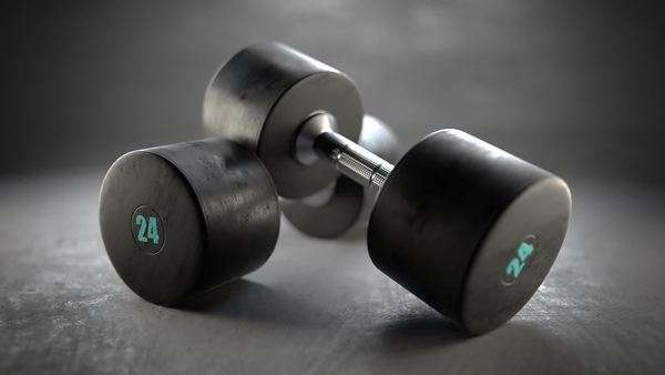 Pair of dumbbells on a floor in the gym Royalty-free stock video