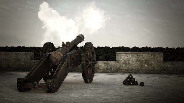 Firing a cannon ball on fort wall Royalty-free stock video