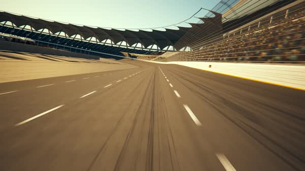 Race Car Speeding Along The Curve Racetrack Royalty-free stock video