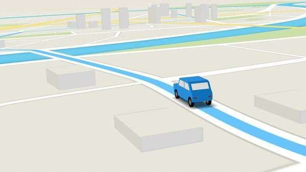 Color animation of blue car as it follows a route generated by GPS along city streets. Royalty-free stock video