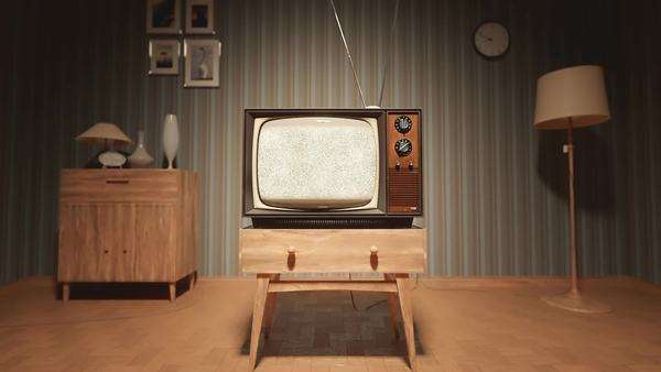 Authentic Static On Old Fashioned TV Screen At Home Royalty-free stock video
