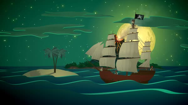 Pirate's Ship Sea With Volcano Mountain In Background Royalty-free stock video
