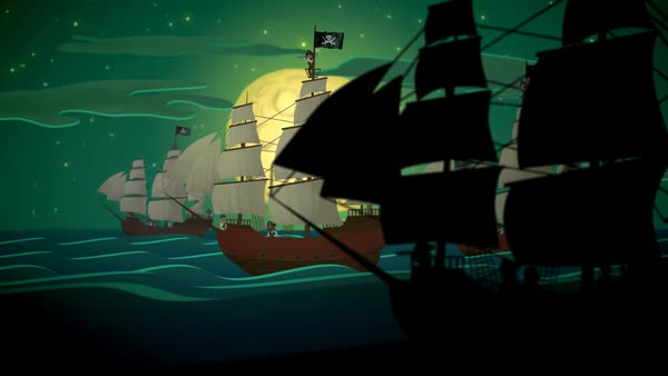 Pirate Ships Rowing In Sea At Night Royalty-free stock video