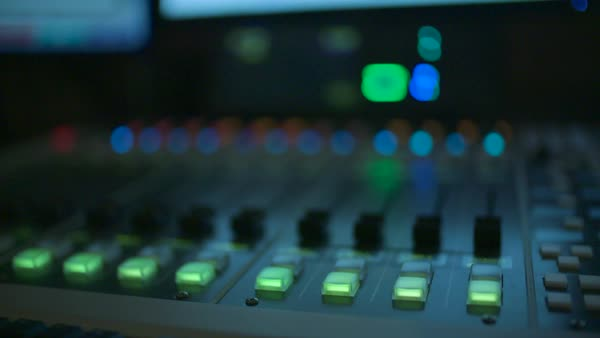 Hand-held shot of a mixing board Royalty-free stock video