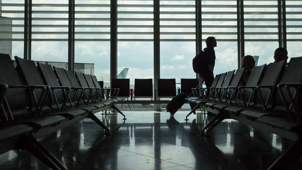 Wide shot of an airport terminal Royalty-free stock video