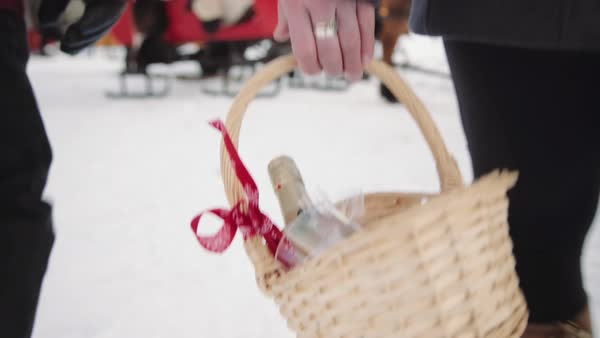 Medium close-up shot of woman carrying a basket Royalty-free stock video