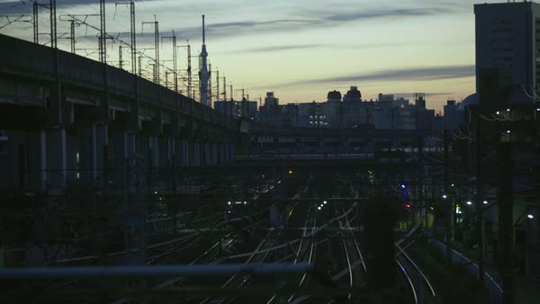 Static shot of railroad tracks at sunrise Royalty-free stock video