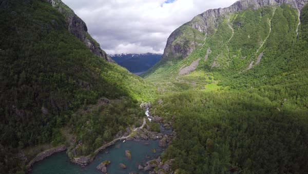 Aerial shot of scenic landscape from Norway Royalty-free stock video