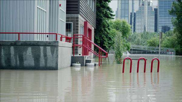 Calgary flooded downtown Royalty-free stock video