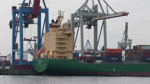 Shipping cranes, Hamburg harbour Royalty-free stock video