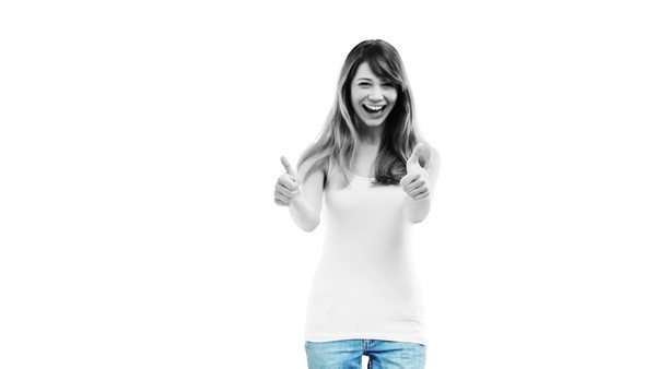 A young woman laughing and giving a thumbs up Royalty-free stock video