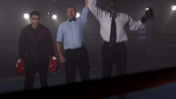 Businessmen boxing in ring Royalty-free stock video