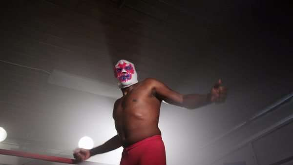 Masked wrestler in boxing ring Royalty-free stock video