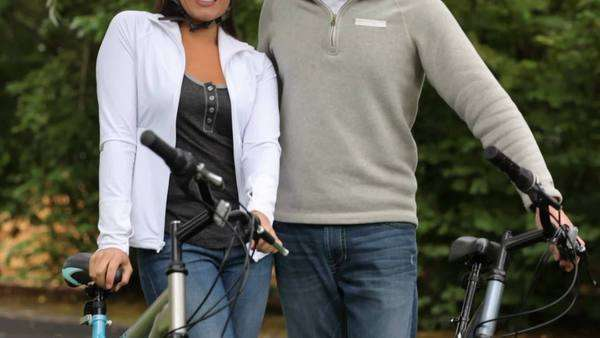 Portrait of couple with bicycles Royalty-free stock video