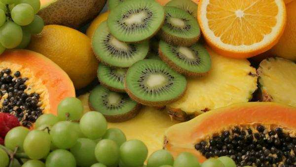 Fresh fruits background, fly over Royalty-free stock video