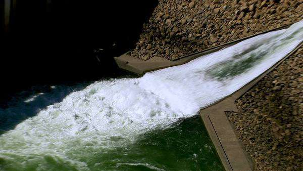 Aerial shot of hydro electric power plant Royalty-free stock video