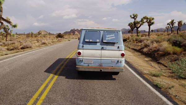 Van on highway. California desert. Royalty-free stock video