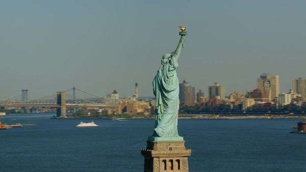 Statue of Liberty and Manhattan, New York City Royalty-free stock video