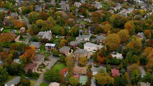 Aerial shot of New York suburb Royalty-free stock video
