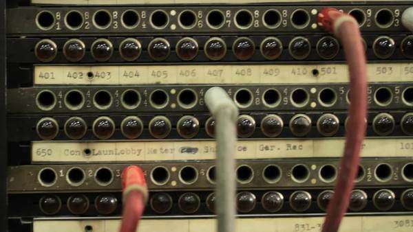 Camera dollys across the cables and sockets on an old telephone switchboard Royalty-free stock video