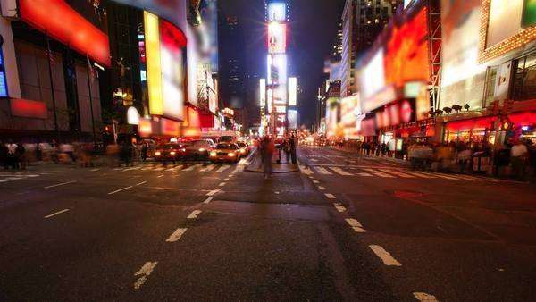 Times Square, New York City (logos and brands blurred) Royalty-free stock video