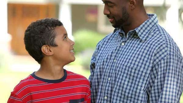 Portrait of African American father and son Royalty-free stock video