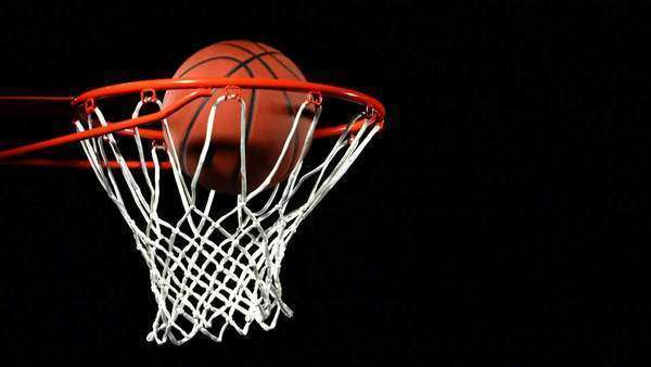 Basketball falls into hoop, slow motion Royalty-free stock video