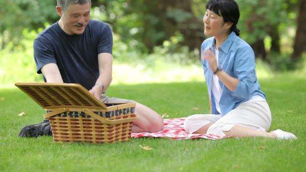 Mature Asian couple having a picnic together Royalty-free stock video