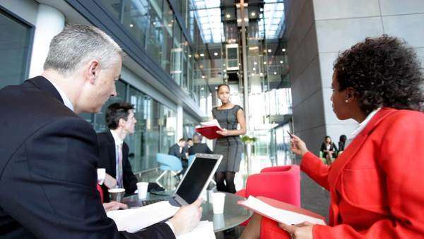 Business people meeting in open office environment Royalty-free stock video