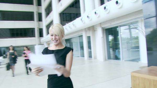 Ecstatic businesswoman celebrates her success Royalty-free stock video