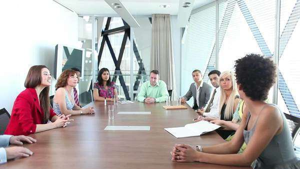 Large boardroom meeting with business people doing a deal and signing contracts Royalty-free stock video