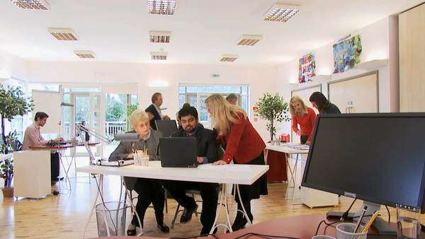 Busy office staff in modern office, timelapse  Royalty-free stock video
