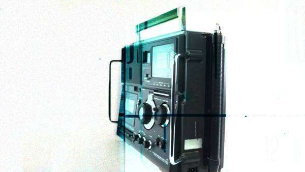 stop-motion, stop-motion  of a cool vintage radio receiver and tape player spinning around Royalty-free stock video