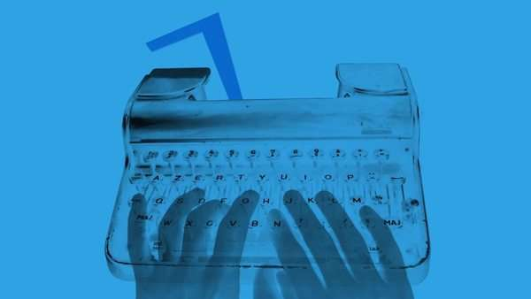 inverted hand typing on old typewriter. nice shapes and abstract patterns Royalty-free stock video