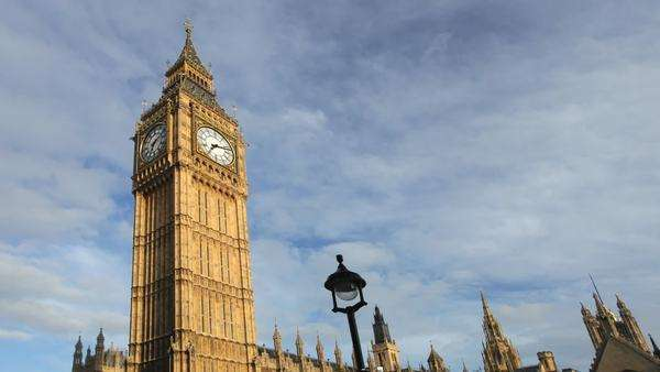 Time-lapse of big-ben clock, parliament, Westminster, London Royalty-free stock video