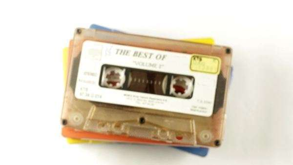 Stop motion of a collection of cool cassette tapes Royalty-free stock video