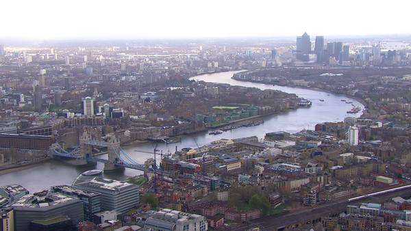 Stunning panoramic aerial view looking over the city of London and the River Thames on a bright day Royalty-free stock video